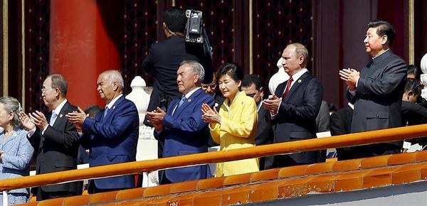 中国北京の天安門で軍事パレード 習近平国家主席、プーチン露大統領、韓国の朴槿恵大統領、国連の潘基文事務総長 150903