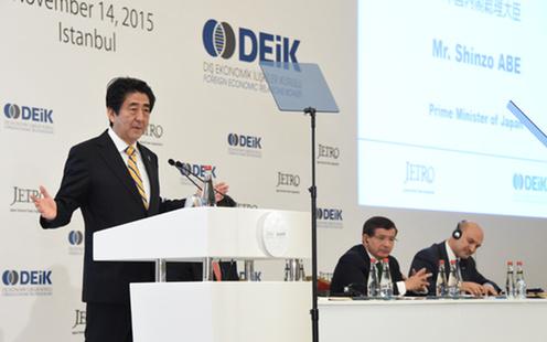 151114 日本・トルコ・ビジネスフォーラムで挨拶する安倍総理