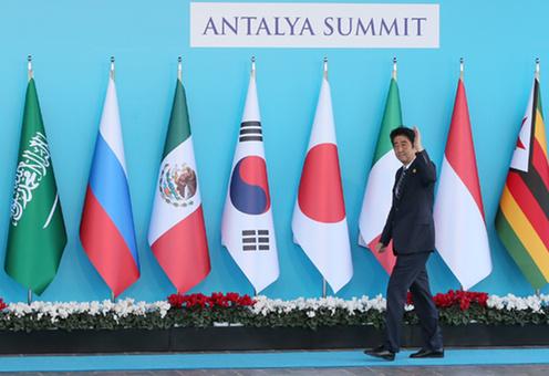 151115 G20アンタルヤ・サミット G20首脳会議場に到着した安倍総理