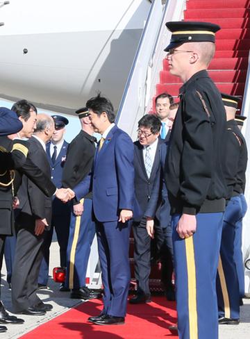 160331 米国核セキュリティ・サミット1日目 アメリカ合衆国に到着した安倍総理