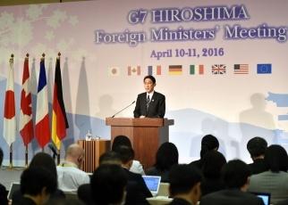160410-11 G7広島外相会合 G7広島外相会合議長国会見