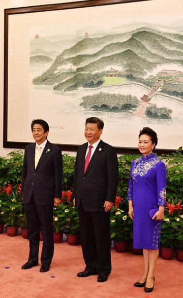 160904 G20 歓迎式典で習国家主席夫妻による出迎えを受ける安倍総理2