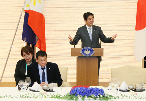 フィリピン ドゥテルテ大統領 来日 総理主催晩餐会で挨拶する安倍総理