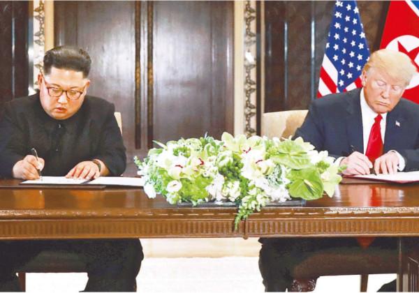 米朝首脳会談 トランプ大統領 金正恩委員長 共同声明