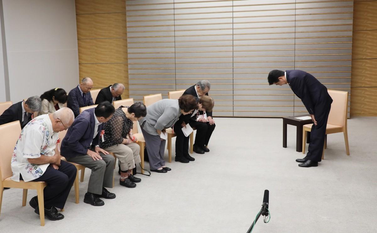 安倍首相、ハンセン病家族訴訟原告団との面会